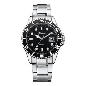 Clearance! Men Stainless Steel Watches,Shinericed GONEWA Men's Fashion Military Date Watches Sport Quartz Analog Wrist Watch (Black)