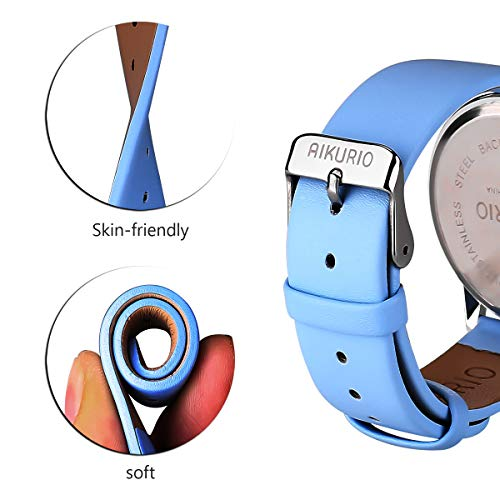 AIKURIO Women Ladies Wrist Watch Waterproof Quartz Watch with Crystal Dial Clock Leather for Female Luxury Fashion Business Classic (Light Blue)
