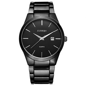 CURREN Men's Watches Classic Black/Silver Steel Band Quartz Analog Wrist Watch with Date for Man (Black Black)