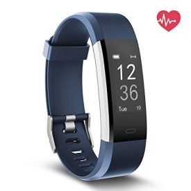 Delvfire Fitness Tracker HR, Activity Tracker with Heart Rate Monitor Watch, IP67 Waterproof Smart Wristband with Calorie Counter Watch Pedometer Sleep Monitor for Kids Women Men (Blue)