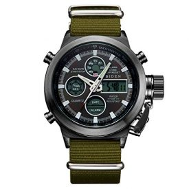 Mens Black Big Face Watches Men 30M Waterproof Large Luxury Casual Stainless Steel Mesh Wrist Watch for Men (Green Black)