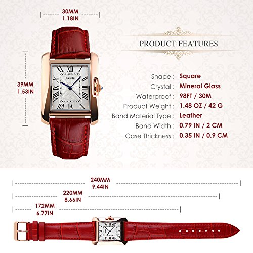 Aposon Womens Analog Watches Quartz Wristwatch Business Casual Watch Unique Dress Watch Square Dial Roman Numeral Strap Fashion Ladies Cheap Watches on Sale Birthday Gift 30M Waterproof-Red