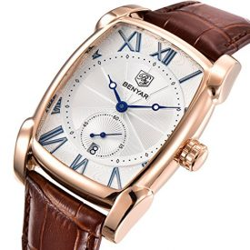 BENYAR Waterproof Classic Rectangle Case Vintage Design Watches Leather Strap Business Casual Wrist Watch for Men (Gold)