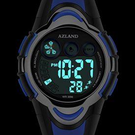 AZLAND Waterproof Swimming Led Digital Sports Watches for Children Kids Girls Boys,Rubber Strap,Blue