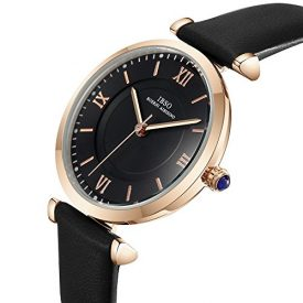 IBSO Ladies Watches Leather Band Round Case Fashion Women Watches on Sale relojes Mujer (6602-Black)