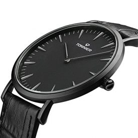 Tonnier Stainless Steel Slim Men Watch Quartz Watch Black Face (Black Leather)