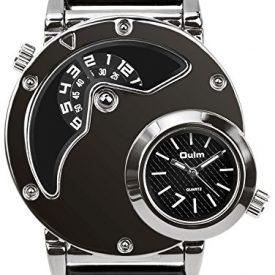 Men's Unique Analog Watch, Aposon Fashion Dress Quartz Wrist Watch with Dual Dial Cool Design Leather Band Dual Time Watches – Black
