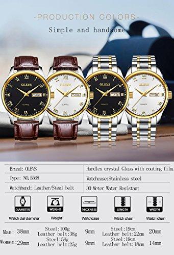 Wrist Watch for Men on Sale Boy Waterproof Quartz Watch Men Black Water Resistant Dressy Stainless Steel Watch for Men Calendar Date Window Men's Watch Roman Numeral with Lumin Escence Display OLEVS