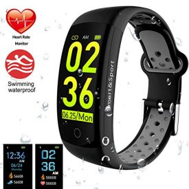 Fitness Tracker, Smart Band Bracelet Watch Activity Tracker with Heart Rate Monitor IP68 Waterproof Fitness Watch Step Counter Calories Counter Sleep Pedometer Watch for Men Women Kids (Black+Grey)