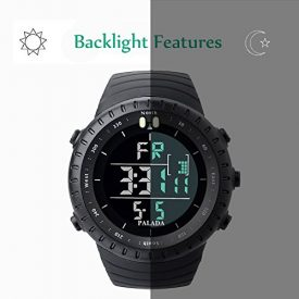 PALADA Men's Sports Digital Wrist Watch All Black Electronic Multifunction Waterproof Military Watches for Men