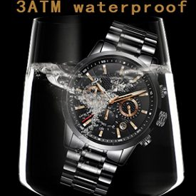Mens Watches Fashion Stainless Steel Analog Quartz Watch Men Luxury Brand LIGE Sports Waterproof Watches Black Classic Date Round Wrist Watch