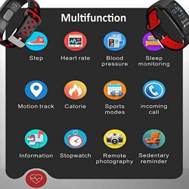 Fitness Tracker, Smart Band Bracelet Watch Activity Tracker with Heart Rate Monitor IP68 Waterproof Fitness Watch Step Counter Calories Counter Sleep Pedometer Watch for Men Women Kids (Black+Red)