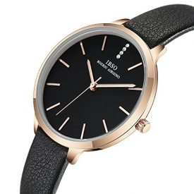 IBSO Female Watches Leather Strap Round Case Fashion Women Watch for Sale(6603-Black)