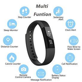 REDGO Wireless Activity and Sleep Monitor Pedometer Smart Fitness Tracker Wristband Watch Bracelet for Men Women Boys Girls Ladies Man iPhone 6 Plus 5S 5C 5 4S, Galaxy S6 S5 S4 S3, Note 6 5 4 Black