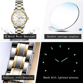 Women Wristwatch,Business Waterproof Calendar Analog Quartz Wach Stainless Steel Luminous Roman Numeral Fine Watch with Classic Unique Couples Casual Additional Battery Gift OLEVS