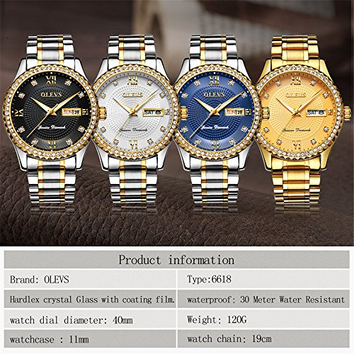 Wrist Watch for Men Waterproof on Sale Business Men's Watches Roman Numeral Calendar Date Window Wristwatch Stainless Steel Analog Quartz Watch with Black Luminescence Display Free Battery Tools OLEVS